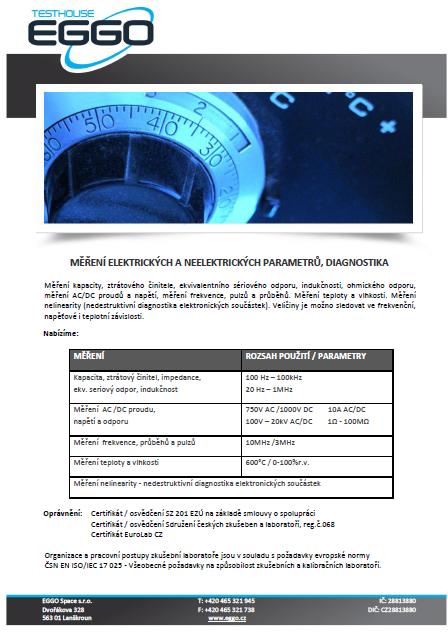 Měření parametrů, diagnostika