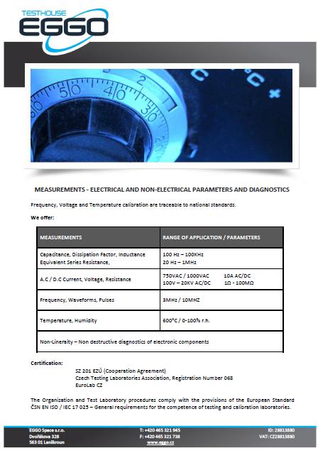 Measurements - electrical parameters and diagnostics