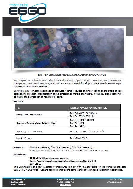 Test - Environmental and corrosion endurance